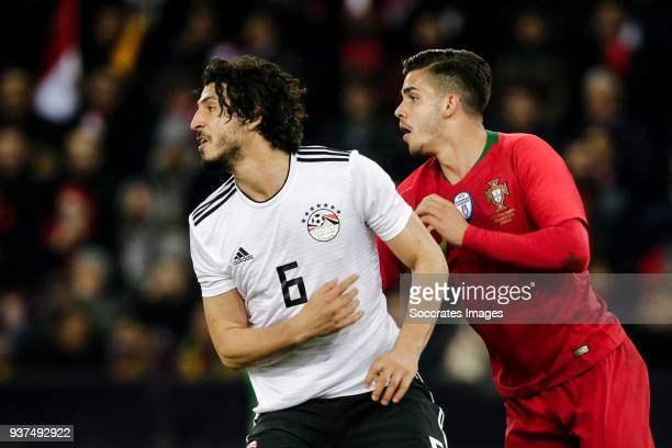 Ahmed Hegazy of Egypt Andre Silva of Portugal during the International Friendly match between Egypt v Portugal at the Letzigrund Stadium on March 23...