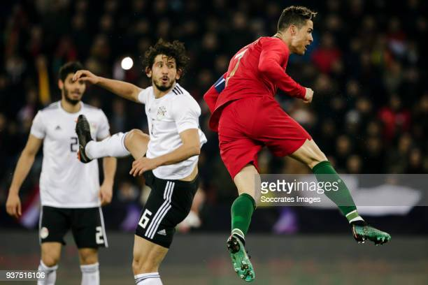 Ahmed Hegazy of Egypt Cristiano Ronaldo of Portugal during the International Friendly match between Egypt v Portugal at the Letzigrund Stadium on...