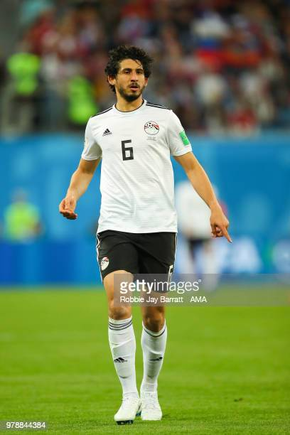 Ahmed Hegazy of Egypt in action during the 2018 FIFA World Cup Russia group A match between Russia and Egypt at Saint Petersburg Stadium on June 19...