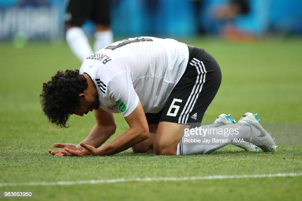 Ahmed Hegazy of Egypt looks dejected at the end of the 2018 FIFA World Cup Russia group A match between Saudi Arabia and Egypt at Volgograd Arena on...