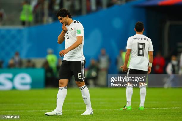 Ahmed Hegazy of Egypt looks dejected during the 2018 FIFA World Cup Russia group A match between Russia and Egypt at Saint Petersburg Stadium on June...