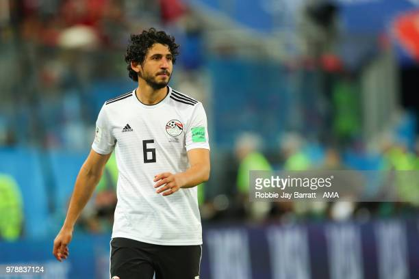 Ahmed Hegazy of Egypt looks on during the 2018 FIFA World Cup Russia group A match between Russia and Egypt at Saint Petersburg Stadium on June 19...