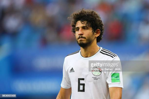 Ahmed Hegazy of Egypt looks on during the 2018 FIFA World Cup Russia group A match between Saudi Arabia and Egypt at Volgograd Arena on June 25 2018...