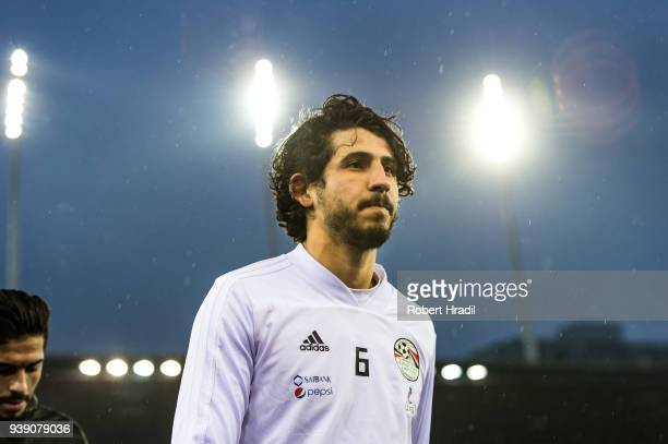 Ahmed Hegazy of Egypt looks on during the International Friendly between Egypt and Greece at the Letzigrund Stadium on March 27 2018 in Zurich...