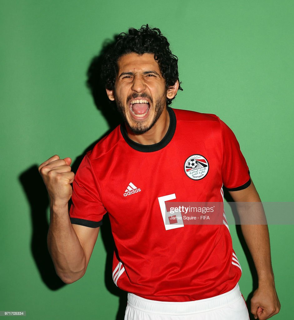 Ahmed Hegazy #6 of Egypt poses during the official FIFA World Cup 2018 portrait session at The Local hotel on June 11, 2018 in Grozny, Russia.