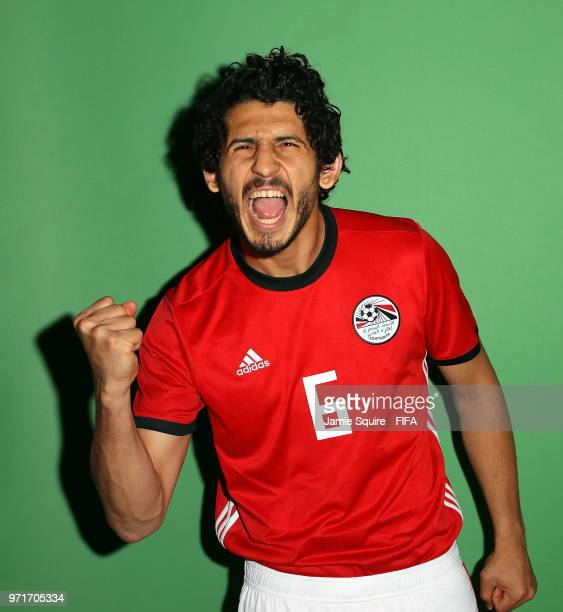 Ahmed Hegazy of Egypt poses during the official FIFA World Cup 2018 portrait session at The Local hotel on June 11 2018 in Grozny Russia