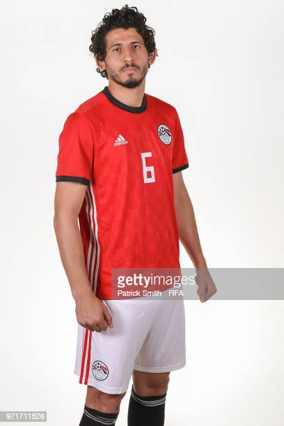 Ahmed Hegazy of Egypt poses for a portrait during the official FIFA World Cup 2018 portrait session at The Local Hotel on June 11 2018 in Gronzy...