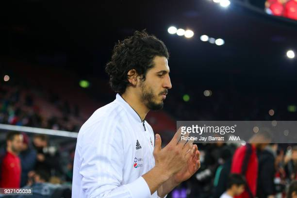 Ahmed Hegazy of Egypt prays as he walks out on to the pitch during the International Friendly match between Egypt and Portugal at Stadion Letzigrund...