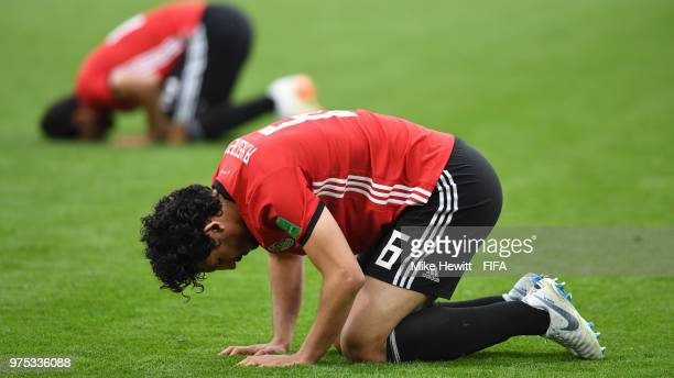 Ahmed Hegazy of Egypt prays at the end of the 2018 FIFA World Cup Russia group A match between Egypt and Uruguay at Ekaterinburg Arena on June 15...