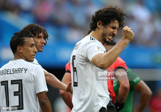 Ahmed Hegazy of Egypt reacts after a penalty is awarded to Saudi Arabia during the 2018 FIFA World Cup Russia group A match between Saudia Arabia and...