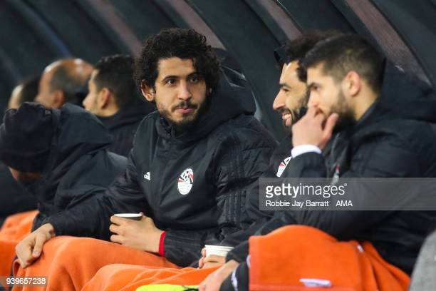 Ahmed Hegazy of Egypt sat on the bench during the International Friendly match between Egypt and Greece at Stadion Letzigrund at Letzigrund on March...