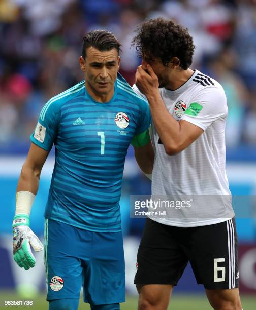 Ahmed Hegazy of Egypt talks with Essam El Hadary of Egypt during the 2018 FIFA World Cup Russia group A match between Saudia Arabia and Egypt at...