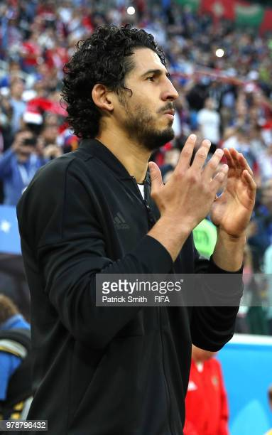 Ahmed Hegazy of Egypt walks out prior to the 2018 FIFA World Cup Russia group A match between Russia and Egypt at Saint Petersburg Stadium on June 19...