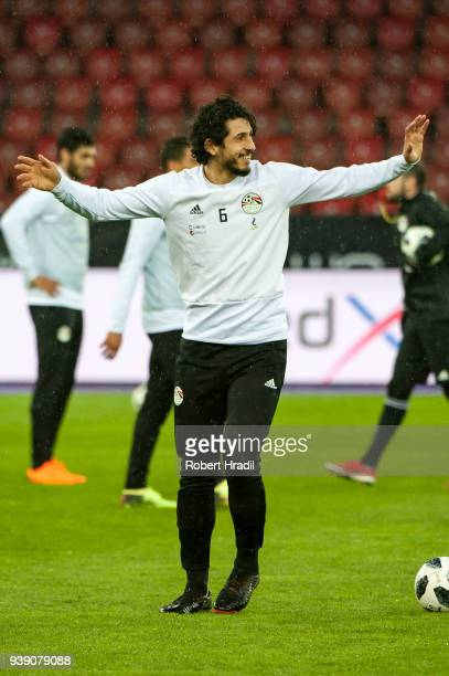 Ahmed Hegazy of Egypt warms up before the International Friendly between Egypt and Greece at the Letzigrund Stadium on March 27 2018 in Zurich...