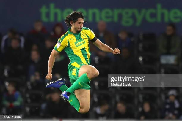Ahmed Hegazy of West Brom celebrates scoring to make it 21 during the Sky Bet Championship match between Swansea City and West Bromwich Albion at the...