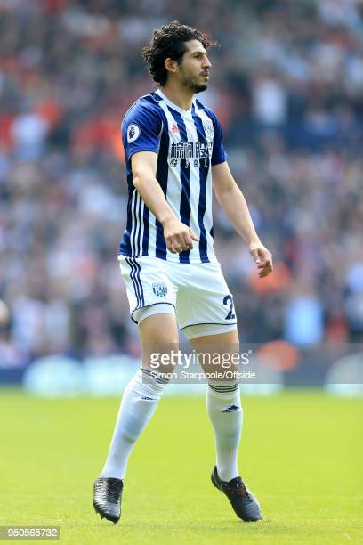 Ahmed Hegazy of West Brom in action during the Premier League match between West Bromwich Albion and Liverpool at The Hawthorns on April 21 2018 in...