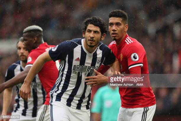 Ahmed Hegazy of West Bromwich Albion and Chris Smalling of Manchester United during the Premier League match between Manchester United and West...