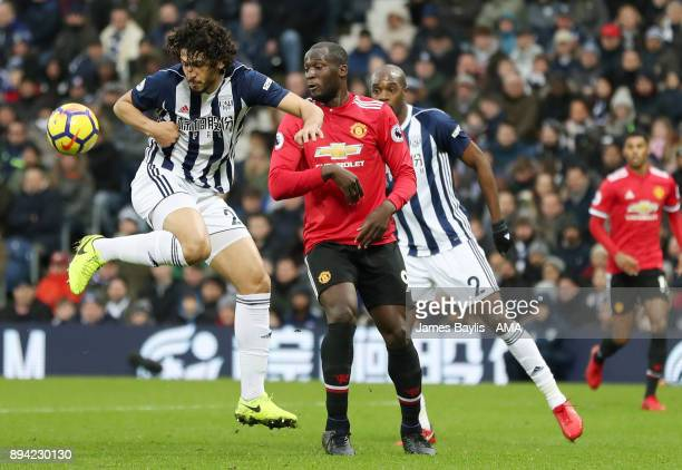 Ahmed Hegazy of West Bromwich Albion and Romelu Lukaku of Manchester United during the Premier League match between West Bromwich Albion and...