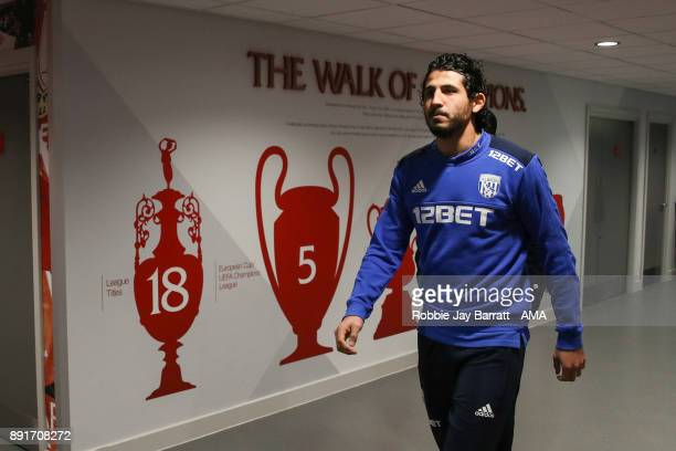 Ahmed Hegazy of West Bromwich Albion arrives prior to the Premier League match between Liverpool and West Bromwich Albion at Anfield on December 13...