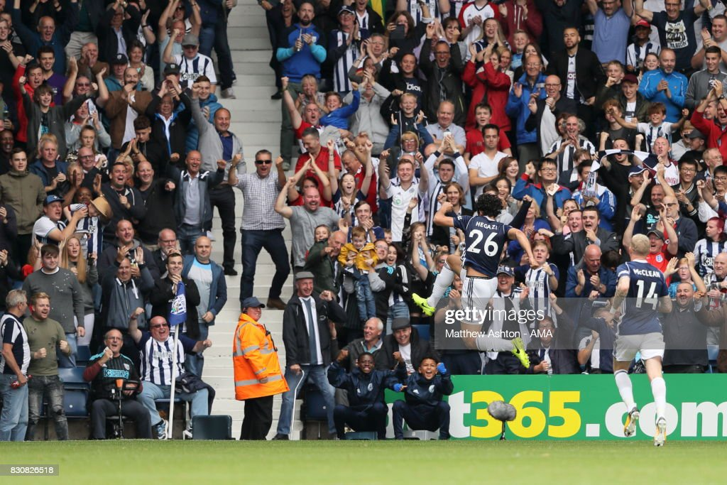 Ahmed Hegazy of West Bromwich Albion celebrates after scoring a goal to make it 1-0 during the Premier League match between West Bromwich Albion and AFC Bournemouth at The Hawthorns on August 12, 2017 in West Bromwich, England.