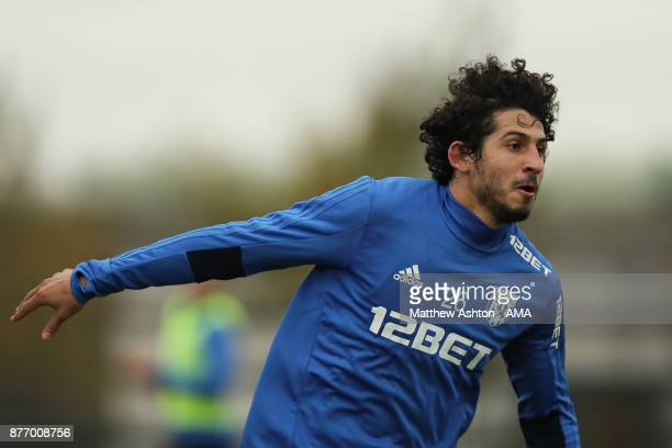 Ahmed Hegazy of West Bromwich Albion during a training session on November 21 2017 in West Bromwich England