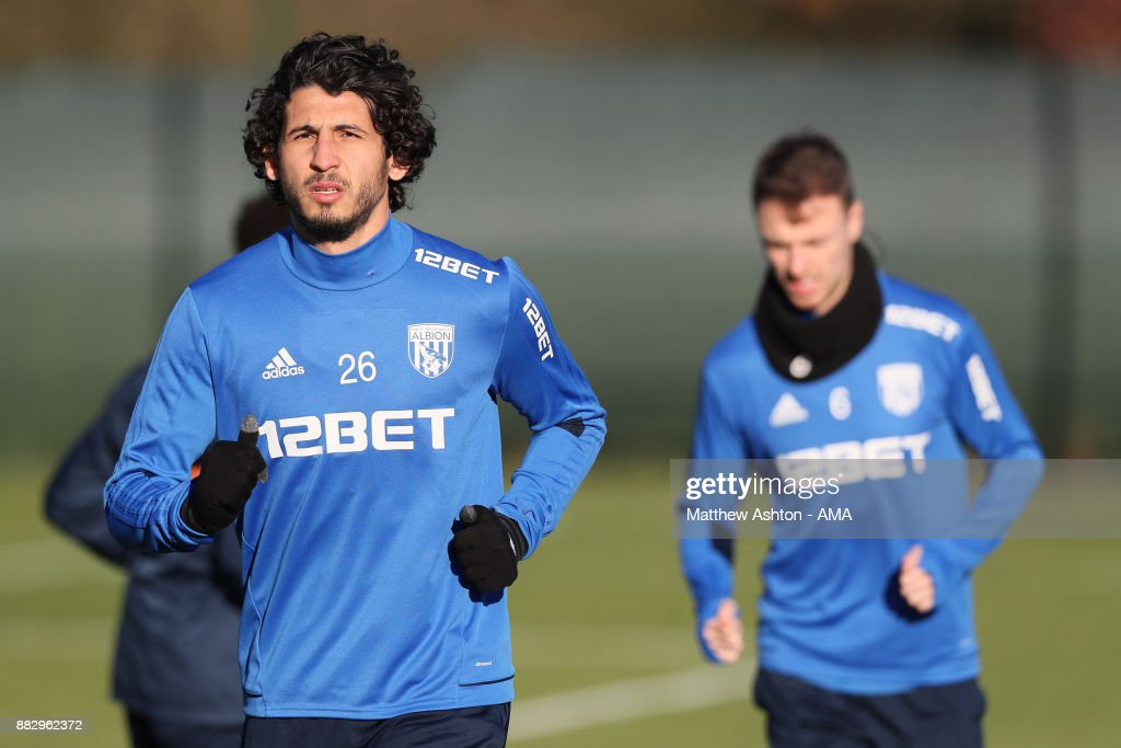 Ahmed Hegazy of West Bromwich Albion during a training session on November 30, 2017 in West Bromwich, England.