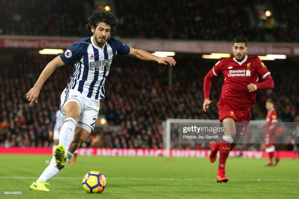 Ahmed Hegazy of West Bromwich Albion during the Premier League match between Liverpool and West Bromwich Albion at Anfield on December 13, 2017 in Liverpool, England.
