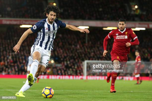 Ahmed Hegazy of West Bromwich Albion during the Premier League match between Liverpool and West Bromwich Albion at Anfield on December 13 2017 in...
