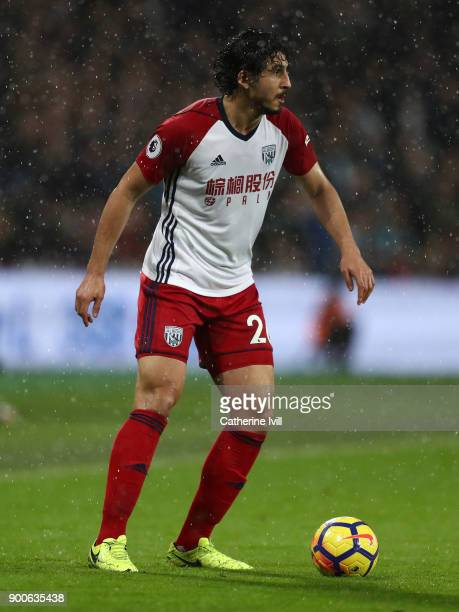 Ahmed Hegazy of West Bromwich Albion during the Premier League match between West Ham United and West Bromwich Albion at London Stadium on January 2...