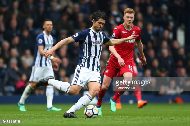 Ahmed Hegazy of West Bromwich Albion during the Premier League match between West Bromwich Albion and Swansea City at The Hawthorns on April 7 2018...