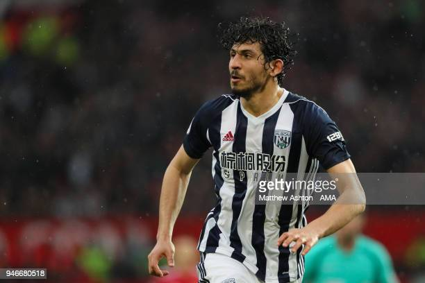 Ahmed Hegazy of West Bromwich Albion during the Premier League match between Manchester United and West Bromwich Albion at Old Trafford on April 15...