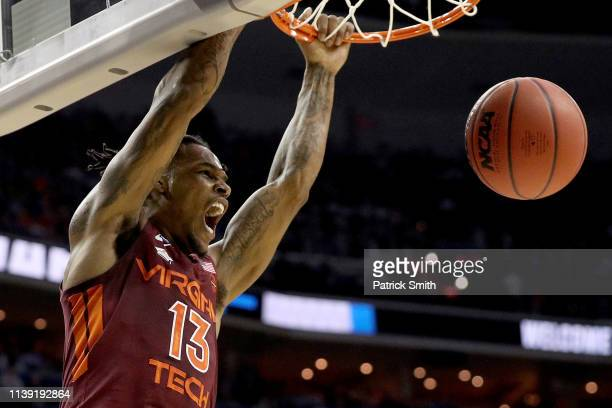 Ahmed Hill of the Virginia Tech Hokies dunks the ball against the Duke Blue Devils during the first half in the East Regional game of the 2019 NCAA...