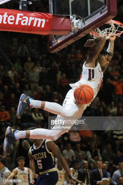 Ahmed Hill of the Virginia Tech Hokies dunks the ball in the second half during the game against the Georgia Tech Yellow Jackets at Cassell Coliseum...