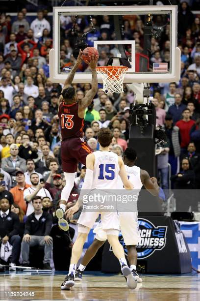 Ahmed Hill of the Virginia Tech Hokies misses a layup against the Duke Blue Devils late in the second half in the East Regional game of the 2019 NCAA...
