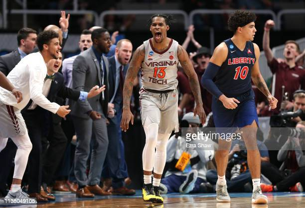 Ahmed Hill of the Virginia Tech Hokies reacts in the second half against Elijah Cuffee of the Liberty Flames during the second round of the 2019 NCAA...