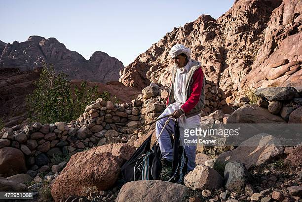 Ahmed Hossam is Bedouin guide who rents out his camel to carry supplies and tourists through the mountains of South Sinai on April 17 2015 near St...