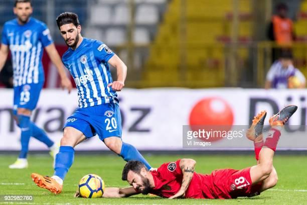 Ahmed Ildiz of Kasimpasa AS Yekta Kurtulus of Antalyaspor AS during the Turkish Spor Toto Super Lig match between Kasimpasa AS and Antalyaspor AS at...