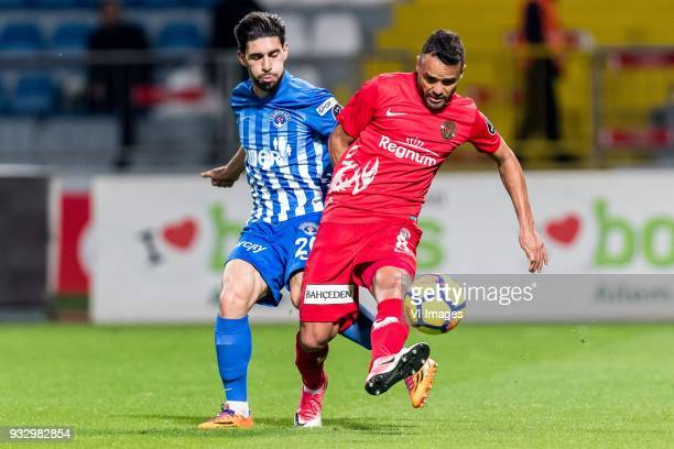 Ahmed Ildiz of Kasimpasa Charles Fernando Basílio da Silva of Antalyaspor AS during the Turkish Spor Toto Super Lig match between Kasimpasa AS and...