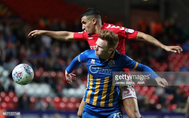 Ahmed Kashi of Charlton Athletic and Jon Nolan of Shrewsbury Town during the Sky Bet League One Play Off Semi FinalFirst Leg between Charlton...