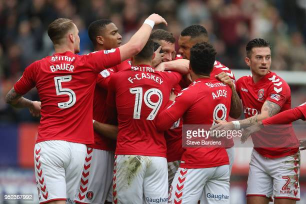 Ahmed Kashi of Charlton Athletic celebrates scoring a goal with his team mates during the Sky Bet League One match between Charlton Athletic and...