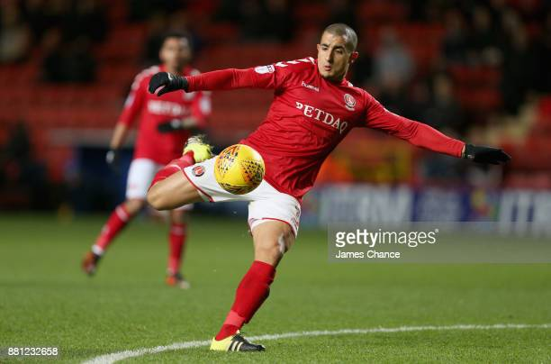 Ahmed Kashi of Charlton Athletic volleys during the Sky Bet League One match between Charlton Athletic and Peterborough United at The Valley on...