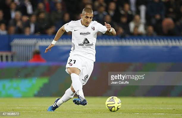 Ahmed Kashi of Metz in action during the French Ligue 1 match between Paris SaintGermain and FC Metz at Parc des Princes stadium on April 28 2015 in...