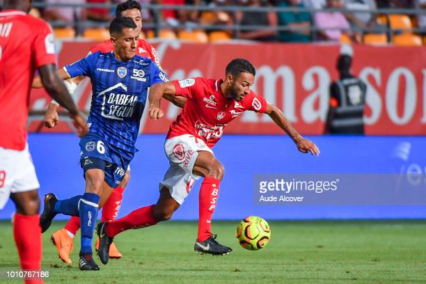 Ahmed Kashi of Troyes and Haris Belkebla of Brest during the Ligue 2 match between Troyes and Brest at Stade de l'Aube on August 3 2018 in Troyes...