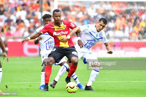 Ahmed Kashi of Troyes and Kevin Fortune of Lens during the French Ligue 2 match between RC Lens and Troyes at Stade BollaertDelelis on August 18 2018...