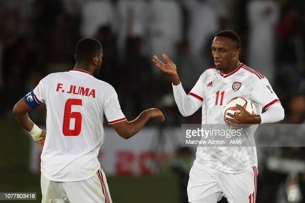 Ahmed Khalil Aljunaibi of the United Arab Emirates celebrates scoring his side's first goal to make the score 11 during the AFC Asian Cup Group A...