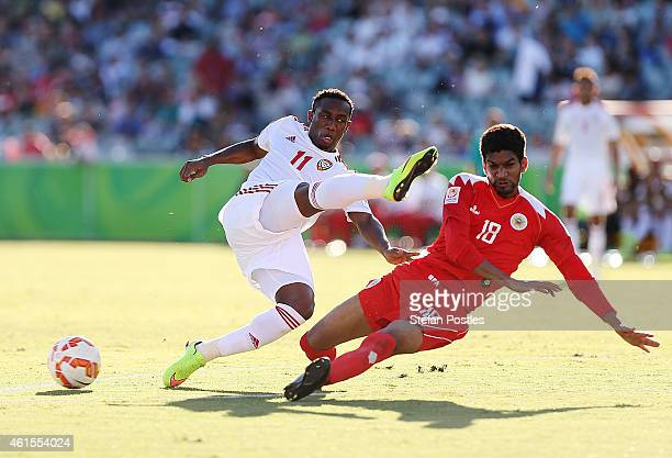 Ahmed Khalil of the United Arab Emirates misses a shot at goal during the 2015 Asian Cup match between Bahrain and the UAE at Canberra Stadium on...