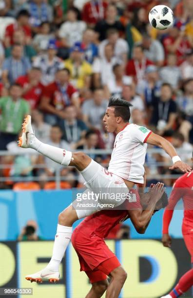 Ahmed Khalil of Tunisia jumps for a header during the 2018 FIFA World Cup Russia Group G match between Panama and Tunisia at the Mordovia Arena is...