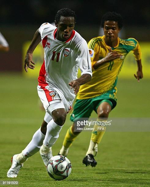 Ahmed Khalil of United Arab Emirates beats Philani Khwela of South Africa during the FIFA U20 World Cup Group F match between United Arab Emirates...