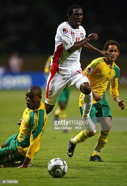 Ahmed Khalil of United Arab Emirates beats Thulani Hlatshwayo of South Africa during the FIFA U20 World Cup Group F match between United Arab...