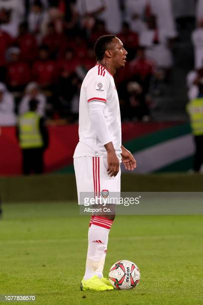 Ahmed Khalil of United Arab Emirates prepares to take the penalty spot kick during the AFC Asian Cup Group A match between United Arab Emirates and...